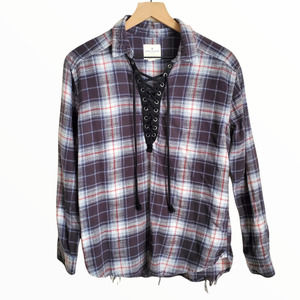 American Eagle 100% Cotton Oversized Flannel Tunic Lace-up Neckline Small Plaid